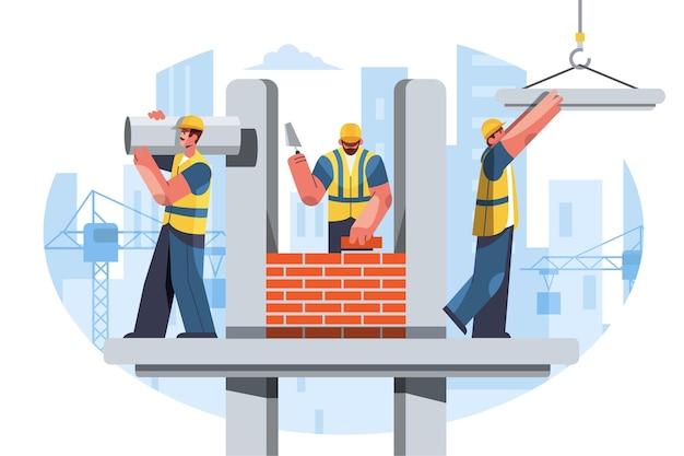 Ilustração plana de engenharia e construção
