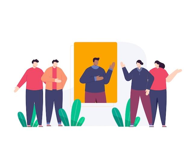 Ilustração plana de equipe de negócios
