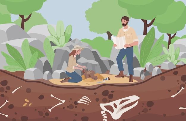 Ilustração plana de escavação arqueológica, homens e mulheres cientistas