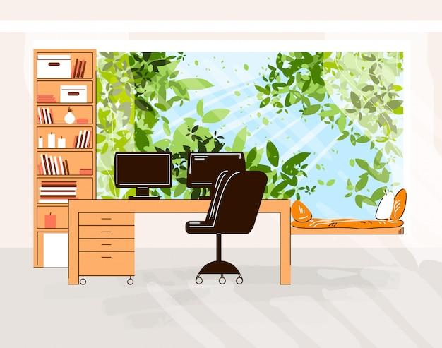 Ilustração plana de escritório doméstico da mesa de trabalho aconchegante com computador e monitor, cadeira de escritório, prateleiras com livros na frente de árvores verdes ao ar livre e luz do sol com zona de descanso