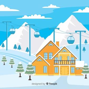 Ilustração plana de estação de esqui