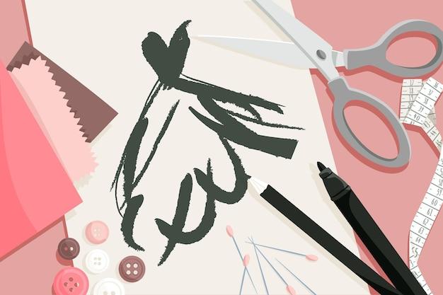 Ilustração plana de estilista