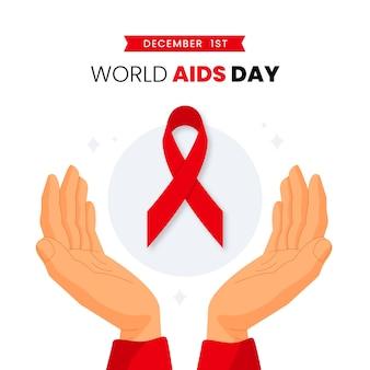 Ilustração plana de evento do dia de aids