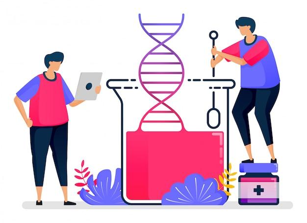 Ilustração plana de experiências de dna com química de vidro. aprendizado de biologia e genética. design para cuidados de saúde.