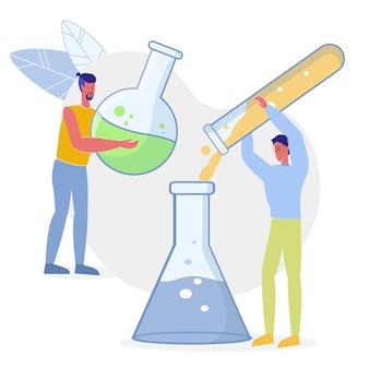 Ilustração plana de experimento de trabalhadores de laboratório