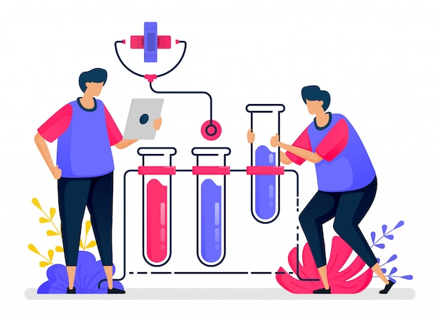 Ilustração plana de experimentos de química com tubos de ensaio para educação e aprendizagem em saúde. design para cuidados de saúde.
