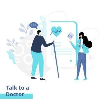 Ilustração plana de falar com um médico, o conceito de homens sendo consultados sobre doenças para mulheres médicas