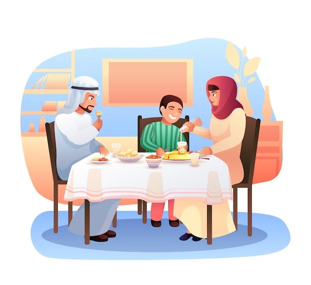 Ilustração plana de família árabe jantando