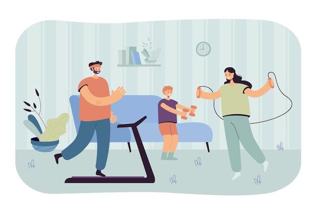 Ilustração plana de família feliz com criança treinando em casa