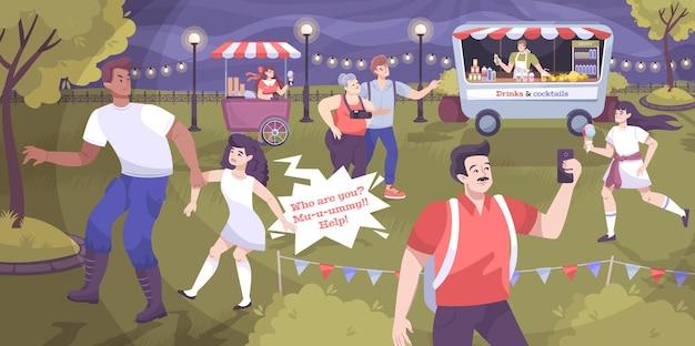 Ilustração plana de festival e crime