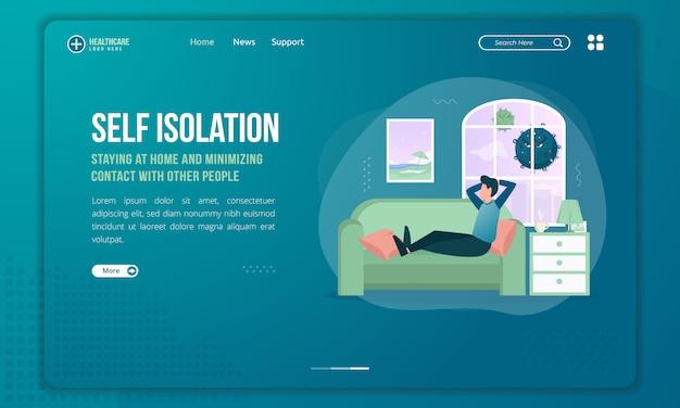 Ilustração plana de ficar em casa ou auto-isolamento no modelo de página de destino
