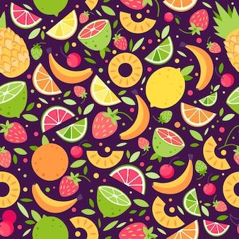 Ilustração plana de frutas e bagas de verão padrão sem emenda