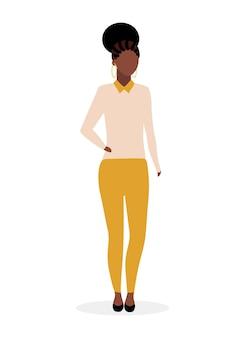 Ilustração plana de garota afro-americana. mulher negra elegante com dreads e penteado encaracolado. senhora elegante e elegante de pele escura em roupas casuais. personagem de desenho animado da modelo feminina mulata brasil