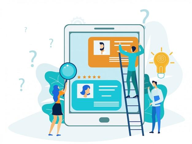Ilustração plana de gestão de relacionamento com cliente