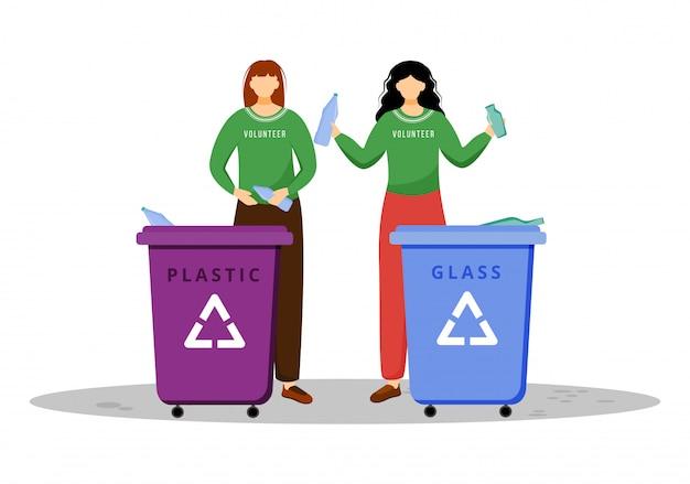 Ilustração plana de gestão de resíduos