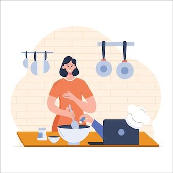 Ilustração plana de girl cooking food