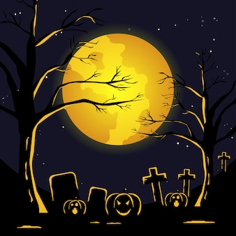 Ilustração plana de halloween. noite de lua cheia no cemitério assustador