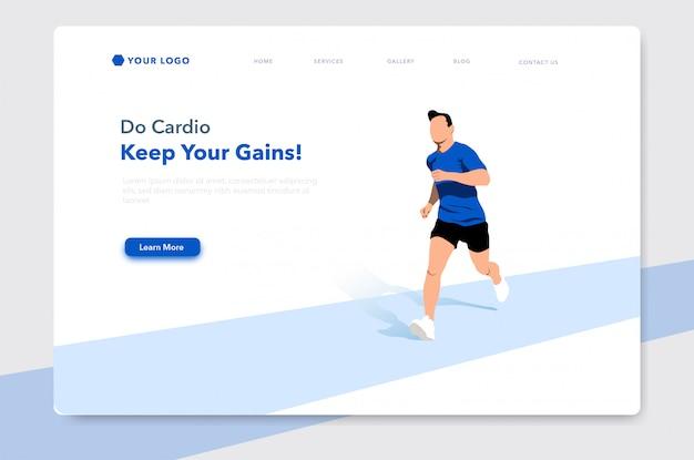 Ilustração plana de homem correndo para a página inicial do site