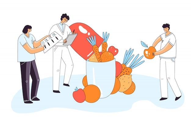 Ilustração plana de homem, personagens de mulher, verificando drogas médicas, pílula, cápsula para a saúde humana, adicionando em uma pílula elementos naturais vitais de legumes e frutas. conceito de farmacologia