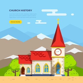 Ilustração plana de igreja