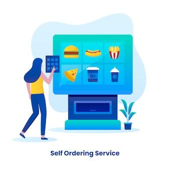Ilustração plana de ilustrações de conceito de serviço de alimentação self-ordering para páginas de destino de sites, cartazes e banners de aplicativos para celular