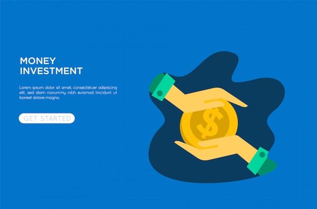 Ilustração plana de investimento de dinheiro