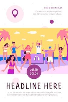 Ilustração plana de jovens em festa na praia