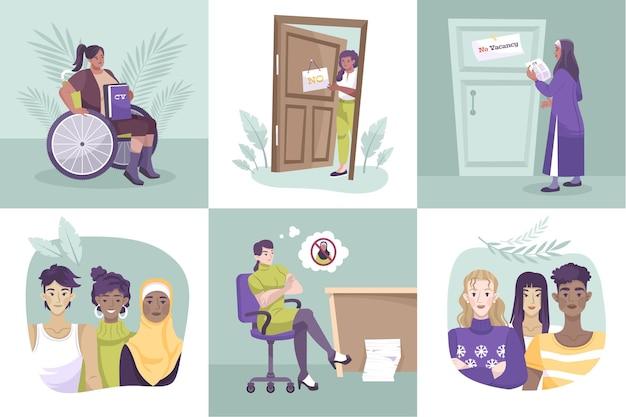 Ilustração plana de justiça social com diferentes pessoas de várias religiões