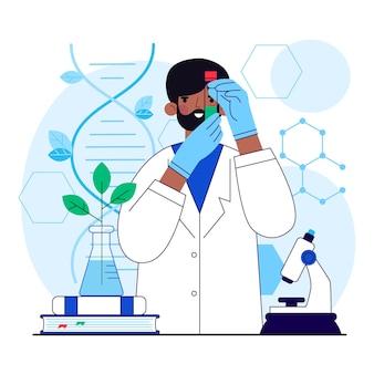 Ilustração plana de laboratório de biotecnologia