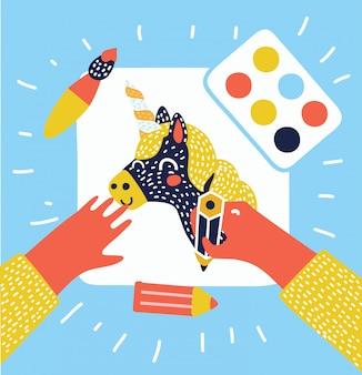 Ilustração plana de mãos pintando, desenhando e criando em papel branco, com espaço para o seu texto na mesa de madeira