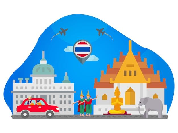 Ilustração plana de marco de tailândia