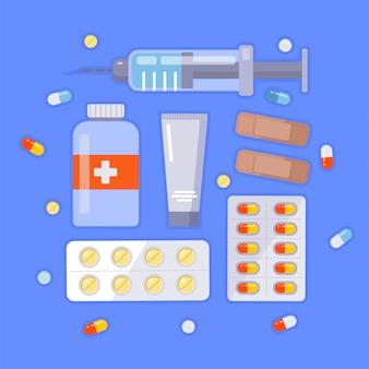 Ilustração plana de medicina