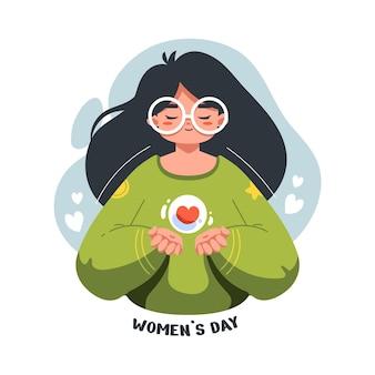 Ilustração plana de menina bonita e fofa na celebração do dia internacional da mulher