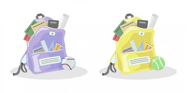 Ilustração plana de mochila e esportes conjunto de coleta de bola
