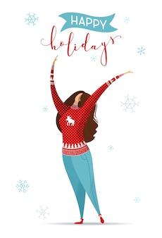 Ilustração plana de mulher em jeans e suéter vermelho de natal em branco
