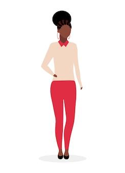Ilustração plana de mulher negra elegante. mulher de negócios afro-americana com personagem de desenho animado de penteado de cauda de dreads isolado no fundo branco. garota de pele escura. estudante internacional