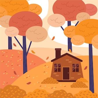 Ilustração plana de outono