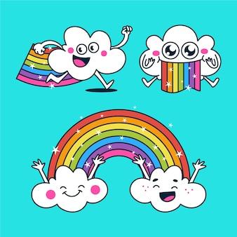 Ilustração plana de pacote de arco-íris sorridente