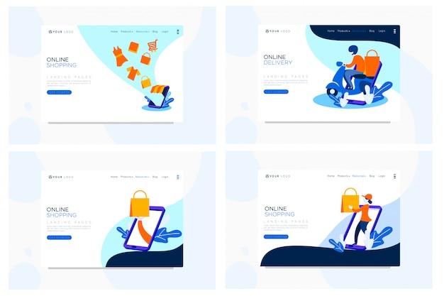 Ilustração plana de página de aterrissagem de compras on-line