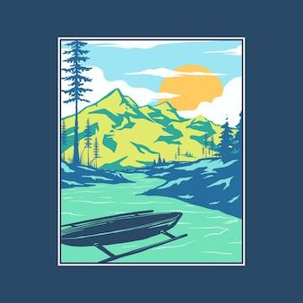 Ilustração plana de paisagem natural deslumbrante