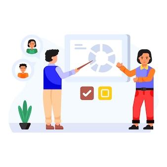 Ilustração plana de parceria em um estilo editável