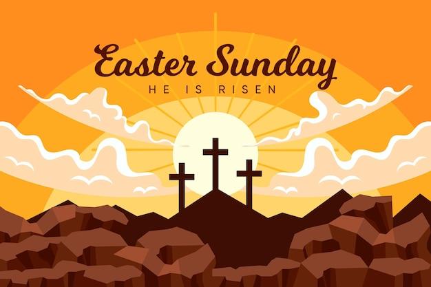 Ilustração plana de páscoa domingo