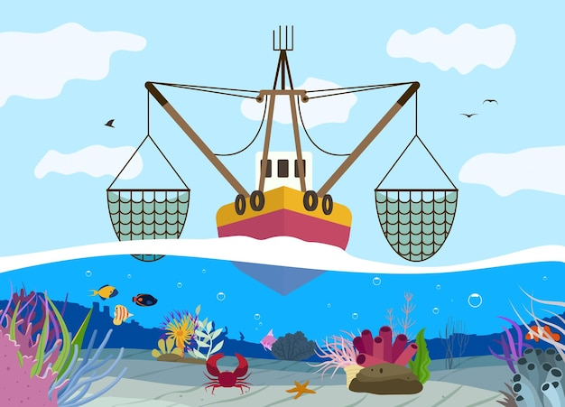 Ilustração plana de pesca de barco