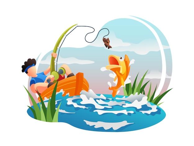 Ilustração plana de pesca web
