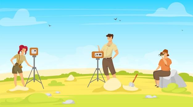 Ilustração plana de pesquisa de campo. grupo de estudo, equipe de exploração. pesquisa no local com equipamentos. profissionais de mulher e homem, exceção de geodésia. exame do solo. cientistas personagens de desenhos animados