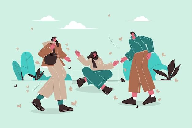 Ilustração plana de pessoas aproveitando o clima de outono
