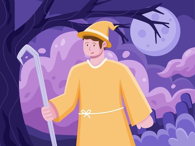 Ilustração plana de pessoas celebrando o halloween com uma fantasia de bruxa