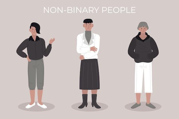 Ilustração plana de pessoas não binárias