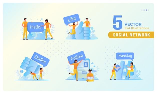 Ilustração plana de pessoas no conceito de redes sociais em um conjunto