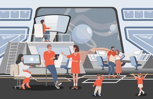 Ilustração plana de pessoas que trabalham com centro de controle de missão espacial